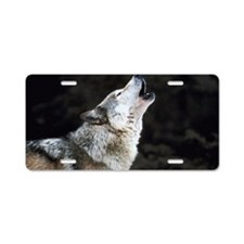 Howling timber wolf Aluminum License Plate