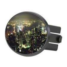 Urban skyline at night Oval Hitch Cover