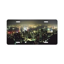 Urban skyline at night Aluminum License Plate
