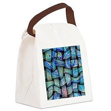 blue textile Canvas Lunch Bag