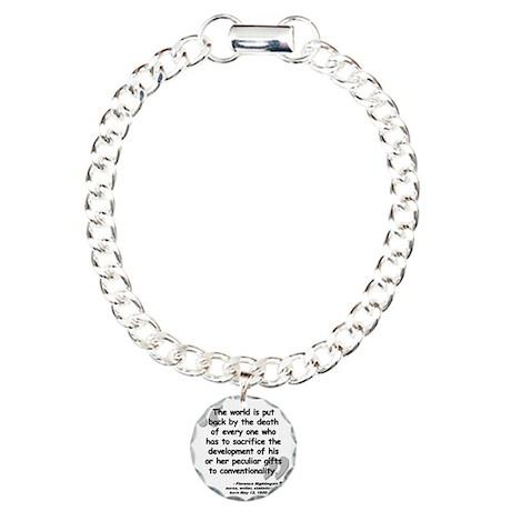 Nightingale Quote Charm Bracelet, One Charm