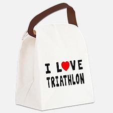I Love Triathlon Canvas Lunch Bag