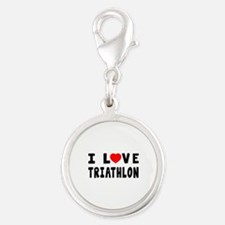 I Love Triathlon Silver Round Charm