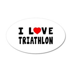 I Love Triathlon Wall Decal