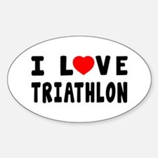 I Love Triathlon Sticker (Oval)