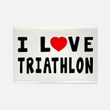 I Love Triathlon Rectangle Magnet