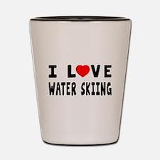 I Love Water Skiing Shot Glass