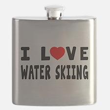 I Love Water Skiing Flask