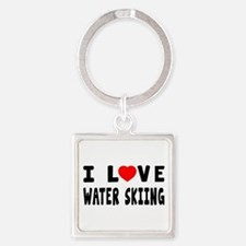 I Love Water Skiing Square Keychain