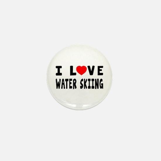 I Love Water Skiing Mini Button