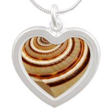 Single seashell on white bac Silver Heart Necklace