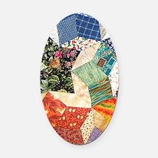 Colorful Patchwork Quilt Oval Car Magnet