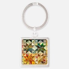 Fun Patchwork Quilt Square Keychain