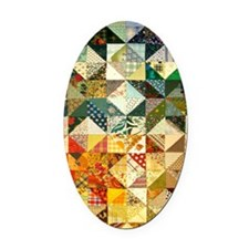 Fun Patchwork Quilt Oval Car Magnet