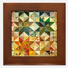 Fun Patchwork Quilt Framed Tile