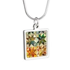 Fun Patchwork Quilt Silver Square Necklace