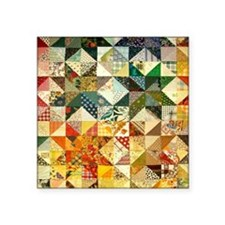 "Fun Patchwork Quilt Square Sticker 3"" x 3"""