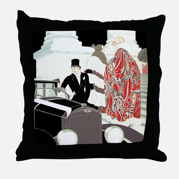 Art Deco Gatsby Scene Throw Pillow