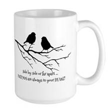 Friends in your Heart Quote Cute Birds on Branch Q