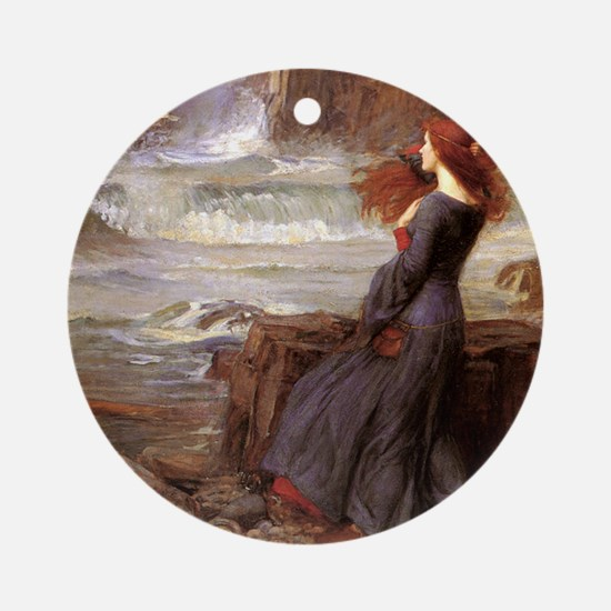 Waterhouse_miranda_the_tempest1SC Round Ornament