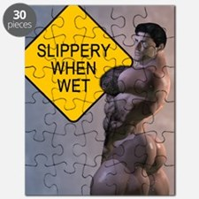 Naked David Slippery When Wet Shower Curtai Puzzle
