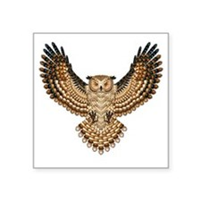 "Beaded Owl Totem Square Sticker 3"" x 3"""