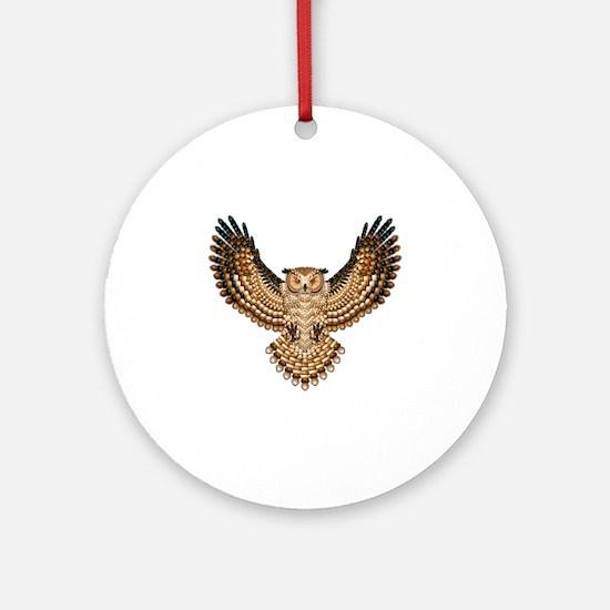 Beaded Owl Totem Round Ornament