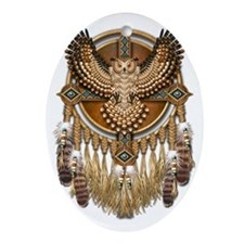 Native American Owl Mandala Oval Ornament