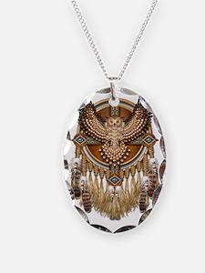 Native American Owl Mandala Necklace Oval Charm