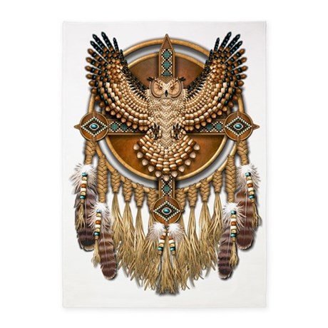 Native American Owl Mandala 5\'x7\'Area Rug by Admin_CP14613691