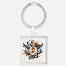 D Orange Ribbon And Wings Multiple Square Keychain