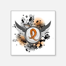 "D Orange Ribbon And Wings M Square Sticker 3"" x 3"""
