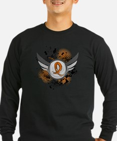 D Orange Ribbon And Wings T