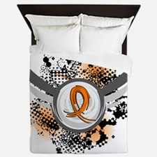 D Orange Ribbon And Wings Multiple Scl Queen Duvet