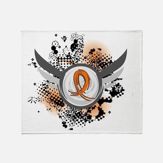 D Orange Ribbon And Wings Multiple S Throw Blanket