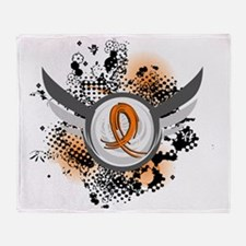 D Orange Ribbon And Wings RSD Throw Blanket