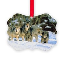 Pack of wolves in snow Ornament
