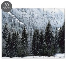 Trees on mountainside in winter Puzzle