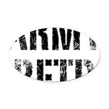 Army retd black distressed print Oval Car Magnet