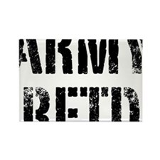 Army retd black distressed print Rectangle Magnet