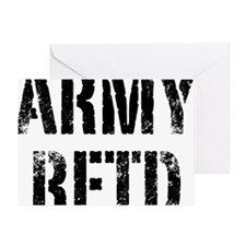 Army retd black distressed print Greeting Card