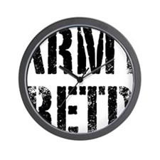Army retd black distressed print Wall Clock