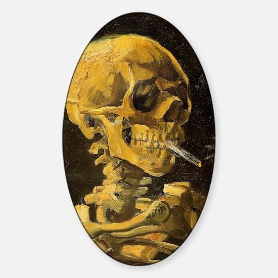 Skull with Burning Cigarette Sticker (Oval)