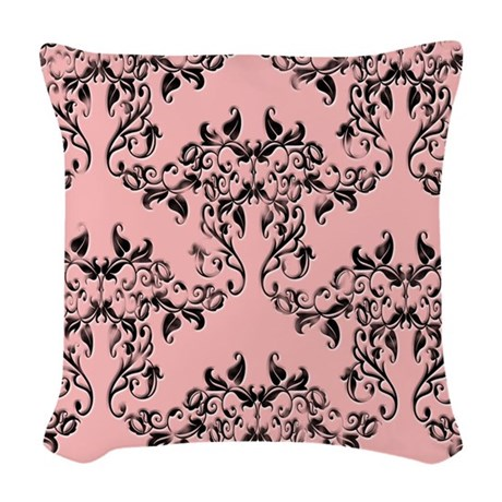 black on pale pink damask woven throw pillow by musicalartworks. Black Bedroom Furniture Sets. Home Design Ideas