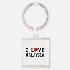 I Love Malaysia Square Keychain