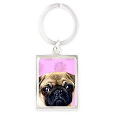 Pug Portrait Keychain