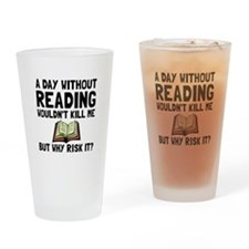 Risk It Reading Drinking Glass
