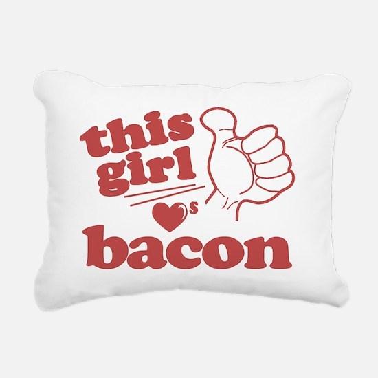 Girl Loves Bacon Rectangular Canvas Pillow