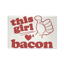 Girl Loves Bacon Rectangle Magnet