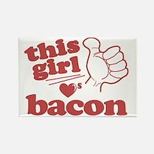 Girl Loves Bacon Rectangle Magnet